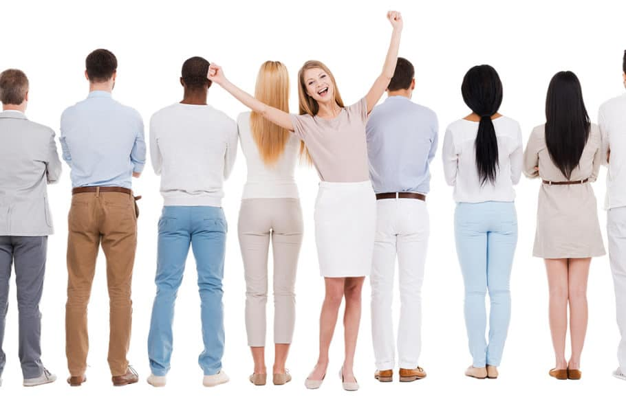 """I set out to find a cheesy stock photo of someone """"standing out in a crowd."""" Took about 2.3 seconds."""